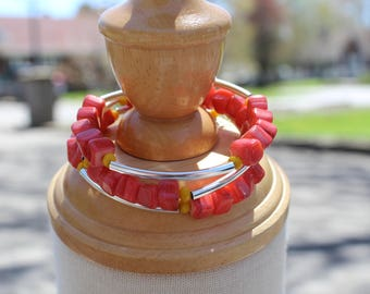 "Twisted bracelet ""shell"", orange 4 rows"