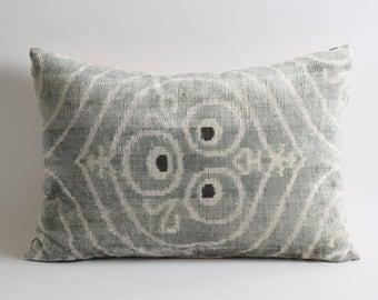 gray velvet pillow, designer ikat pillow, velvet silk cushion, throw pillows gray, throw ikat pillow, velvet cushion, cushion,velvet pillows