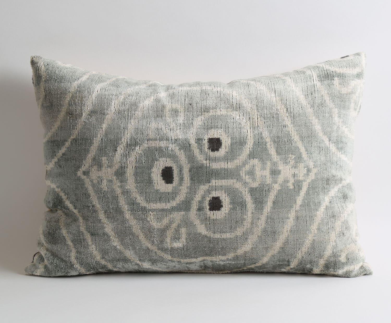 gray velvet pillow designer ikat pillow velvet silk cushion