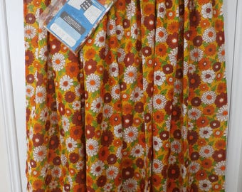 Vintage Floral Print Curtains Never Used 1970's