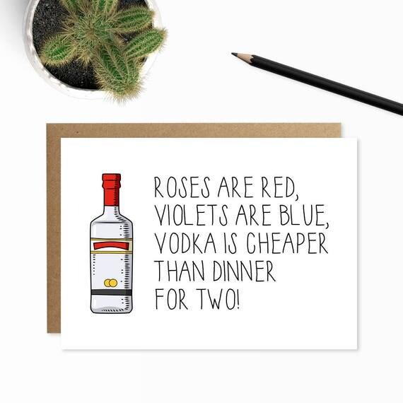 Vodka Card Valentines Card Funny I Love You Poems Roses Are – Valentine Card Poem