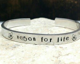 Vegan for life butterfly art deco font bracelet - adjustable - handstamped - aluminium, copper, brass or sterling silver