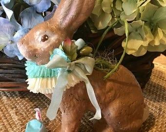 Gorgeous, Vintage Style, Easter Rabbit Treat Basket