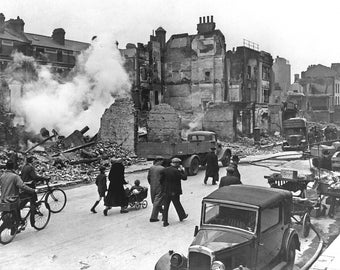 Bombed out buildings, London, WWII, 1940's, London Blitz, England