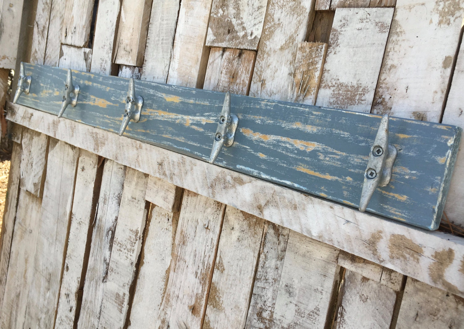 Nautical Distressed Medium Blue Boat Cleat Coat Rack, Towel Rack, Book Bag  Rack, Hat Rack, Or Key Rack With Boat Cleats And Reclaimed Wood Part 64