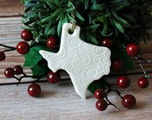 State of Texas Ornament - Porcelain Christmas Ornament - Lone Star State Ornament - Southwest Ornament - Ready to Ship