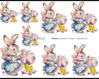 Vintage Nursery Baby Bunny Waterslide Decals BAB608