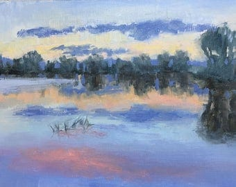 Wetland Sunset - Original contemporary Landscape painting - Oil Painting