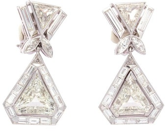 Important Large Diamond Platinum Earrings