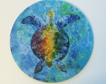 turtle Mouse Pad Original Watercolor Pastel