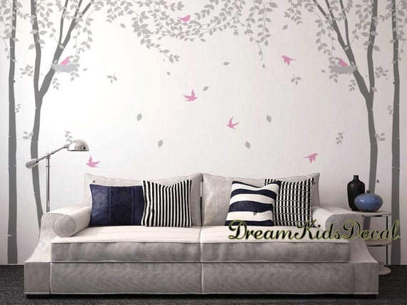 Tree Wall Decals, Nature Wall Decals, Vinyl Wall Decal, Nature Wall Decal  Stickers, Nursery Wall Stickers Birch Forest Leaves Blowing DK184L