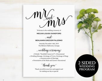 Wedding Program Template, Wedding Program, Printable Program, DIY Wedding Program, Program Template, Ceremony Program Template, PDF, #MM01