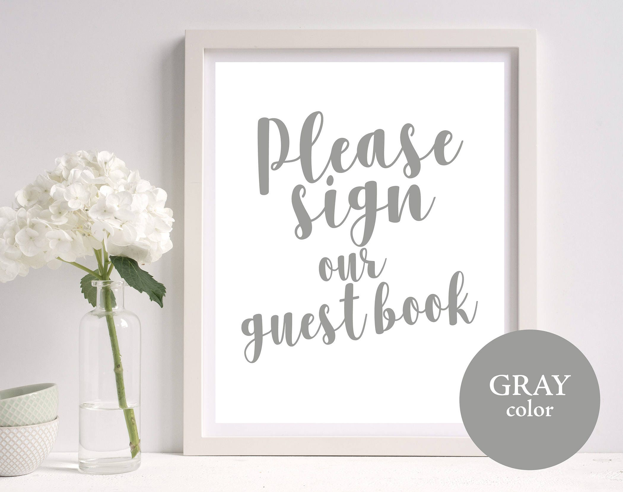 guest book sign template guest book sign gray wedding guest. Black Bedroom Furniture Sets. Home Design Ideas