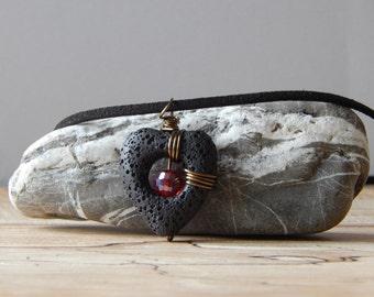 Black Lava Rock Necklace, Heart Pendant, Wire Wrapped Pendant, Rock Necklace, Unique Jewelry, Gift for Women Mom, Black Accessories