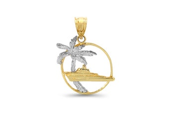 14k solid gold two tone tropical pendant, palmtree & cruise ship pendant.