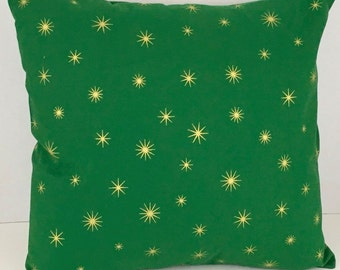 Gold Stars on Green Christmas Pillow Cover