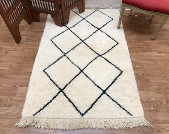 Moroccan 3x5 rug BENI OURAIN Authentic traditional rug Handmade rug Beni ourain Moroccan rug Traditional Rug Classic Design rug