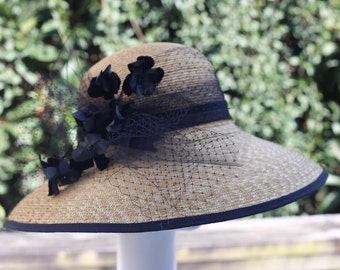 "Natural Straw Hat--Black Trim--""Vania"""