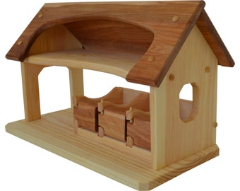 Natural Wooden Hardwood Toy Stable-Sunset Stable Deluxe-Waldorf Wooden Stable- Toy Barn-Wooden Barn-Child's Play Barn-