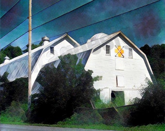 White Dutch Barn in Shelburne, VT Note Card