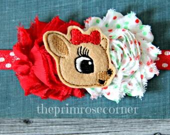 Clarice Christmas Headband. Reindeer Headband. Holiday Headband. Christmas. Red Headband. Flower Headband, Newborn Headband.