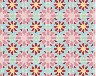 Extra 15% OFF 1 yard Apple of My Eye by the Quilted Fish for Riley Blake blue petals