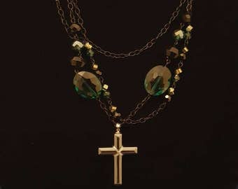 Black and green with cross necklace