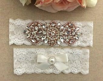 Rose Gold Wedding Garter Set - Rhinestone Lace Garter - Pearl Garter - Bridal Garter - Wedding Garter Belt - Keepsake Garter