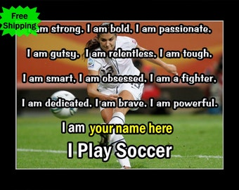 """Alex Morgan Personalized Confidence Poster, Soccer Motivation Wall Art, Daughter Wall Decor Gift, 8x10"""", 11x14"""", Free Ship"""