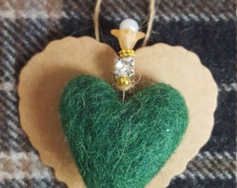 Felted mixed wool heart