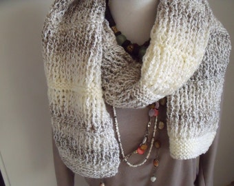 long, wide winter scarf in shades of gray (200/30 cm)