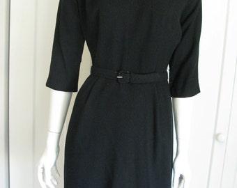 Vintage 50's Black Wool Wiggle Dress - Sz Small