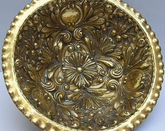 Large Ornate Repousse BRASS Footed CENTERPIECE BOWL with Flower and Medallion Pattern
