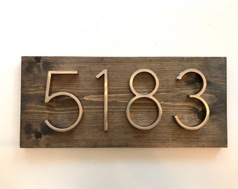 Modern Rustic Address Plaque // Horizontal House Number Plaque