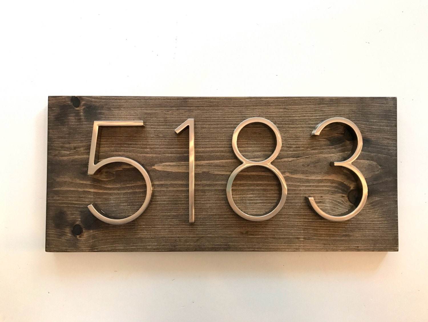 Modern rustic address plaque horizontal house number plaque for Modern house number plaques