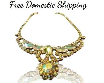 Aurora Borealis Necklace, AB Necklace, Rhinestone Necklace, Vintage Rhinestone Necklace, Mid Century Crystal Necklace, Free US Shipping