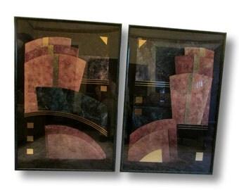 """Marble Prints, Set Modern Prints, Geometric Prints, Gold Foil Prints, Poster Size Framed Prints, 37"""" x 25"""" Abstract Prints"""