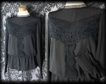 Gothic Black Lace Bib VICTORIAN GOVERNESS High Neck Sheer Blouse 10 12 Vintage