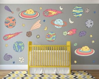Outer Space Kids Room Decor, Outer Space Wall Decals, Space Nursery, Space Wall Art, Outer Space Wall Decor