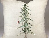 Hand Painted Holiday Pillow  with Red Cardinal and Tree