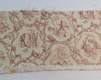 French toile fabric with multiple animal scenes.
