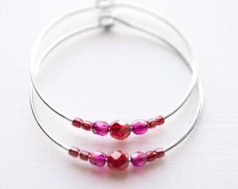 raspberry moon / berry red fuchsia and silver hoop earrings