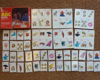 Vintage ABC Lotto Bingo Memory Matching Game Tile Card Jewelry Cardboard Altered Art Supply (#500)