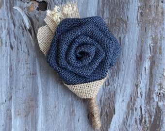 Navy Boutonniere Navy Burlap Boutonniere Rustic Navy Boutonniere Fall Boutonniere Burlap Boutonniere Boutonniere Father of the Groom Bride