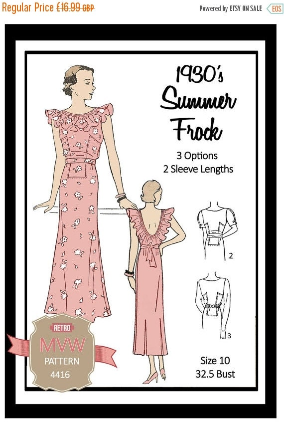 1930s Dresses, Clothing & Patterns Links ON SALE 1930s  Summer Frock Sewing Pattern - Full Size Paper Pattern $19.45 AT vintagedancer.com