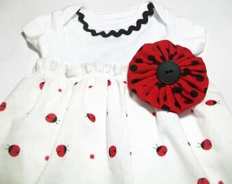 Baby Dress - Ladybug outfit -  Ladybugs - Baby Girl - Bodysuit Dress - Baby Girl Gift - Peapodlilfrogs