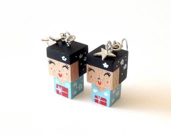 "Earrings Wooden Dolls ""Kokeshis"" - Hand-made"