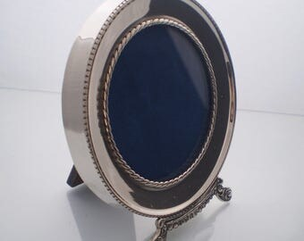 Sterling photo frame, NEW Sterling Silver round picture frame, Vintage style, handcrafted, wooden backing & stand