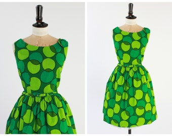Vintage original 1950s 50s 1960s 60s Miss Cavendish vibrant green concentric circle bold print dress UK 10 US 6 S