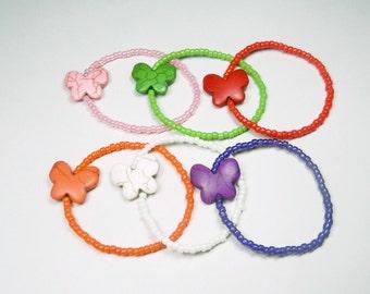 Child's Stretch Bracelet, Butterfly Bracelet, Pink, Green, Red, Orange, White, Purple, Kids Bracelet, Stocking Stuffer, Kids Jewelry